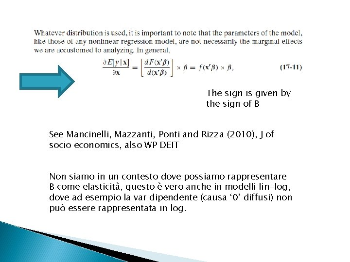 The sign is given by the sign of B See Mancinelli, Mazzanti, Ponti and