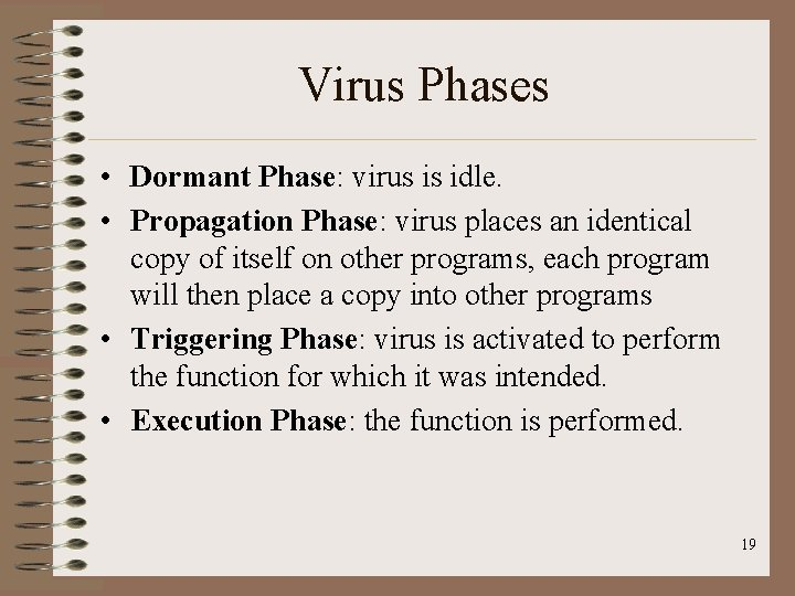Virus Phases • Dormant Phase: virus is idle. • Propagation Phase: virus places an