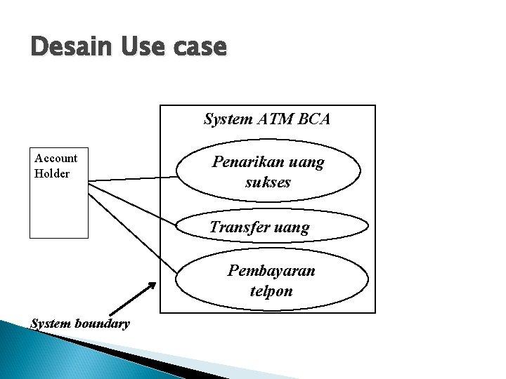 Desain Use case System ATM BCA Account Holder Penarikan uang sukses Transfer uang Pembayaran