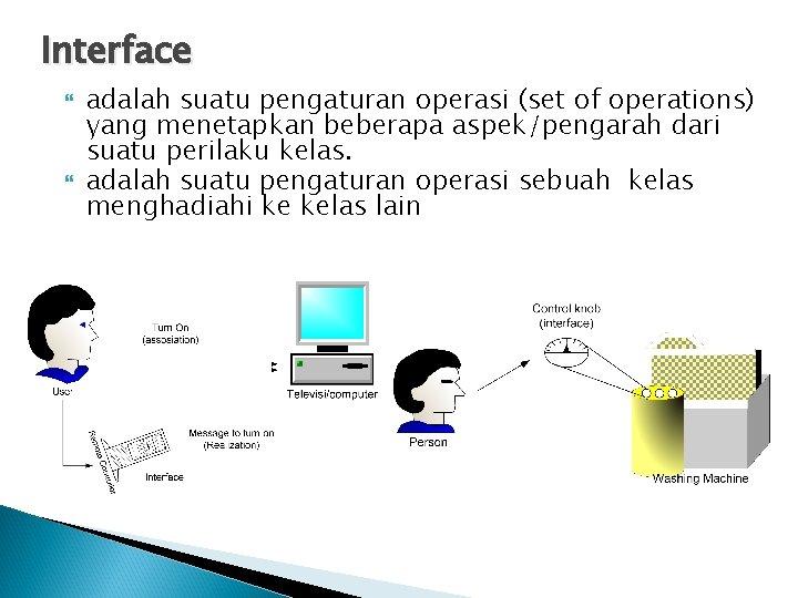 Interface adalah suatu pengaturan operasi (set of operations) yang menetapkan beberapa aspek/pengarah dari suatu