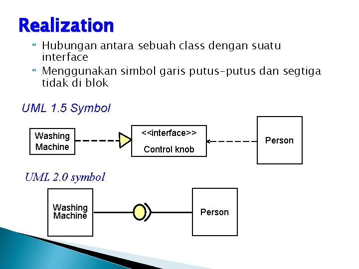 Realization Hubungan antara sebuah class dengan suatu interface Menggunakan simbol garis putus-putus dan segtiga
