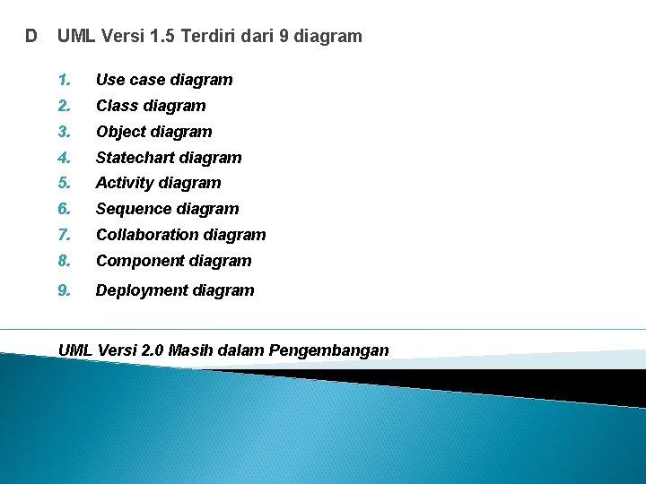D UML Versi 1. 5 Terdiri dari 9 diagram 1. Use case diagram 2.