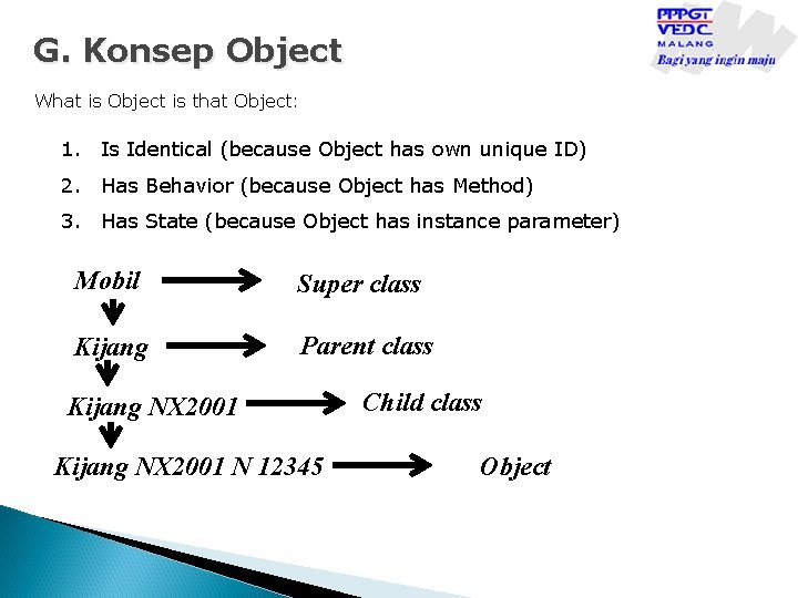 G. Konsep Object What is Object is that Object: 1. Is Identical (because Object