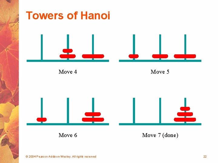 Towers of Hanoi Move 4 Move 5 Move 6 Move 7 (done) © 2004
