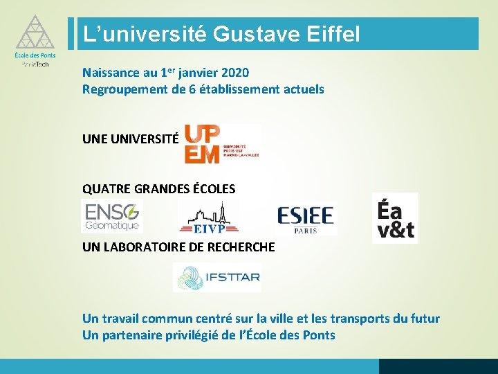 L'université Gustave Eiffel Naissance au 1 er janvier 2020 Regroupement de 6 établissement actuels
