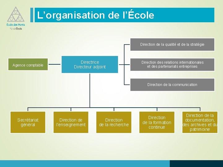 L'organisation de l'École Direction de la qualité et de la stratégie Agence comptable Directrice