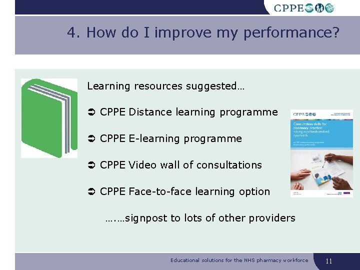 4. How do I improve my performance? Learning resources suggested… CPPE Distance learning programme