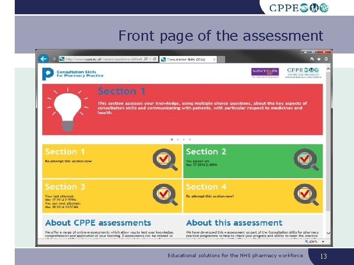 Front page of the assessment Educational solutions for the NHS pharmacy workforce 13
