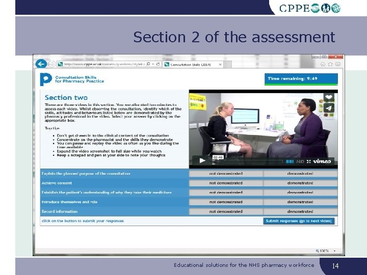 Section 2 of the assessment Educational solutions for the NHS pharmacy workforce 14