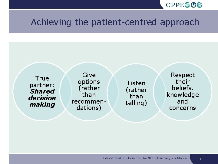 Achieving the patient-centred approach True partner: Shared decision making Give options (rather than recommendations)