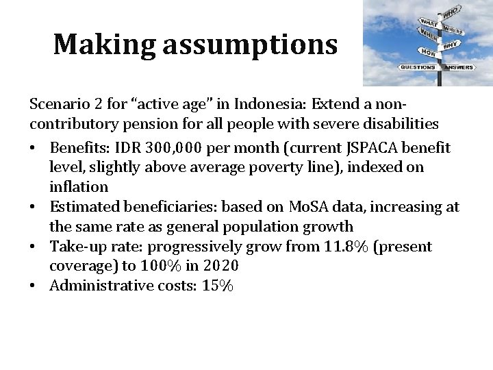 """Making assumptions Scenario 2 for """"active age"""" in Indonesia: Extend a noncontributory pension for"""