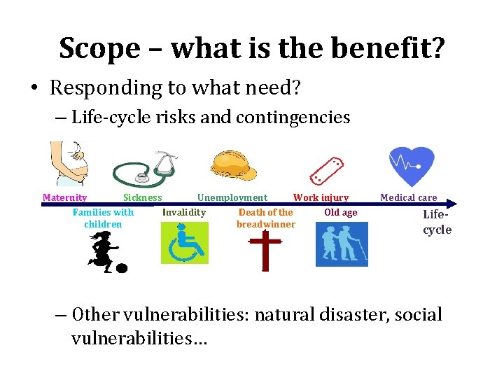 Scope – what is the benefit? • Responding to what need? – Life-cycle risks