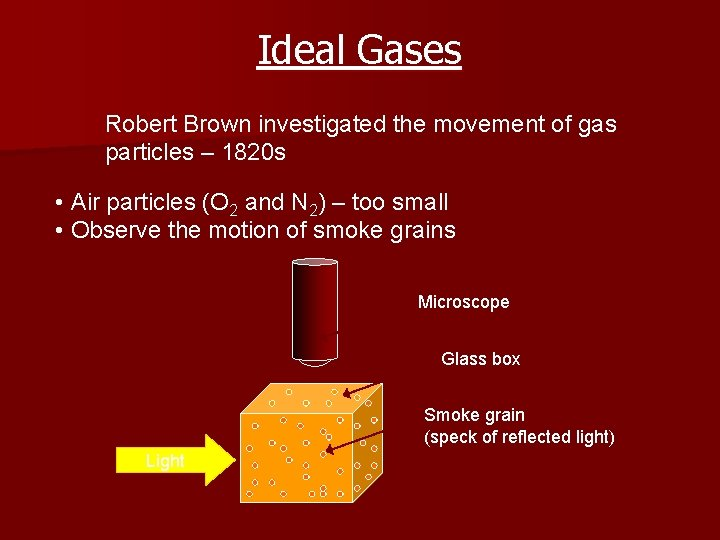 Ideal Gases Robert Brown investigated the movement of gas particles – 1820 s •