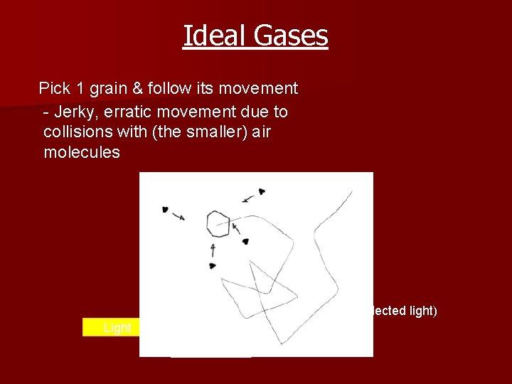 Ideal Gases Pick 1 grain & follow its movement - Jerky, erratic movement due
