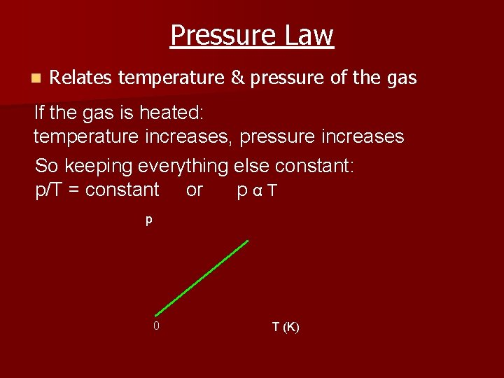 Pressure Law n Relates temperature & pressure of the gas If the gas is