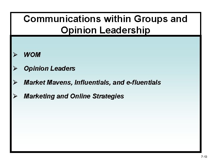 Communications within Groups and Opinion Leadership Ø WOM Ø Opinion Leaders Ø Market Mavens,