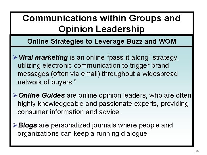 Communications within Groups and Opinion Leadership Online Strategies to Leverage Buzz and WOM ØViral