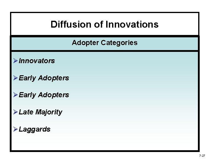 Diffusion of Innovations Adopter Categories ØInnovators ØEarly Adopters ØLate Majority ØLaggards 7 -27