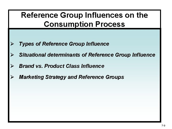 Reference Group Influences on the Consumption Process Ø Types of Reference Group Influence Ø