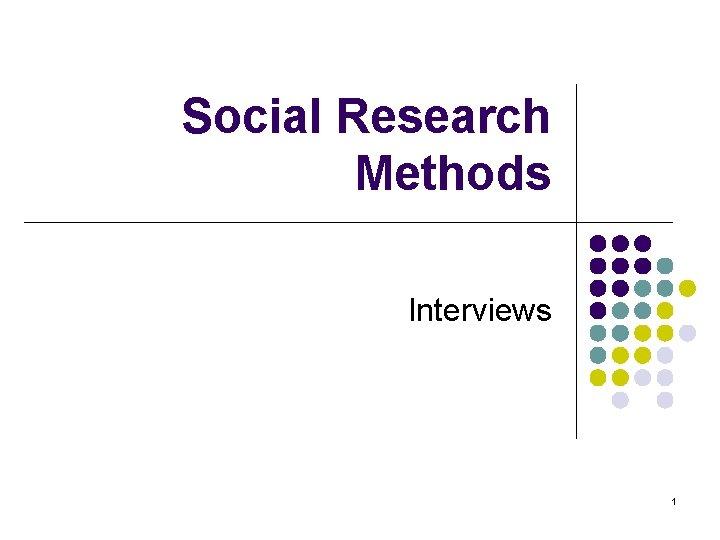 Social Research Methods Interviews 1