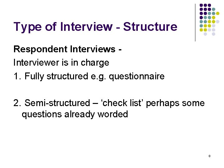 Type of Interview - Structure Respondent Interviews Interviewer is in charge 1. Fully structured