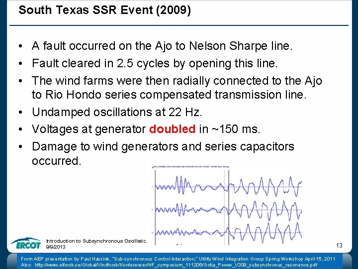 South Texas SSR Event (2009) • A fault occurred on the Ajo to Nelson