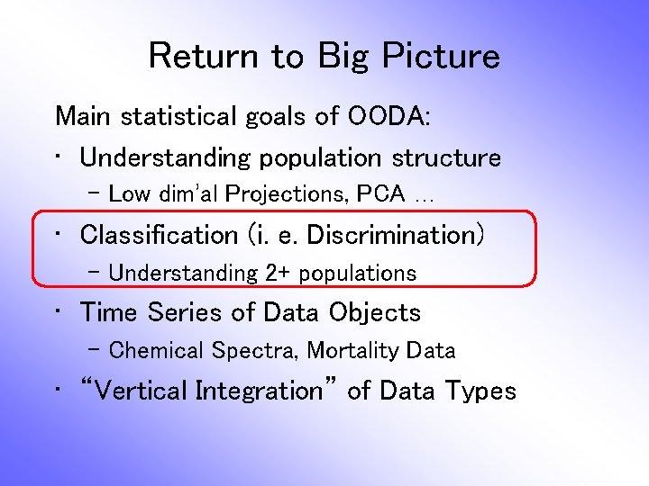 Return to Big Picture Main statistical goals of OODA: • Understanding population structure –