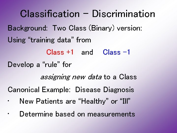 """Classification - Discrimination Background: Two Class (Binary) version: Using """"training data"""" from Class +1"""