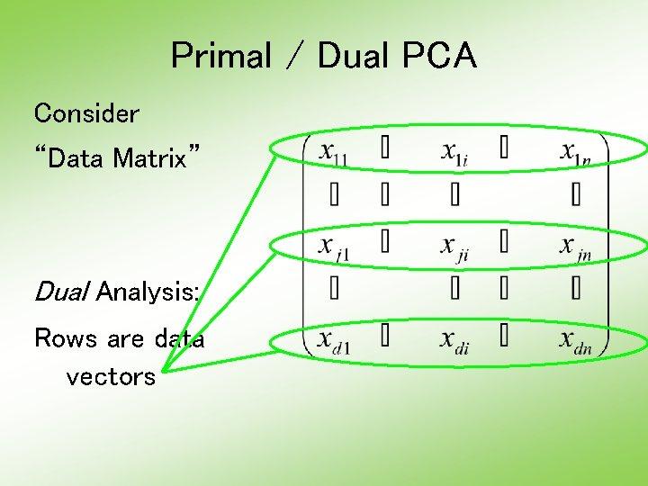 "Primal / Dual PCA Consider ""Data Matrix"" Dual Analysis: Rows are data vectors"