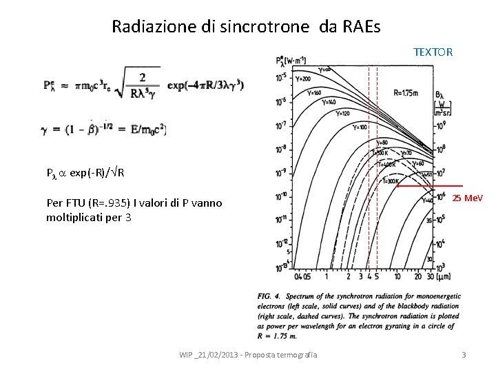 Radiazione di sincrotrone da RAEs TEXTOR P exp(-R)/ R Per FTU (R=. 935) I