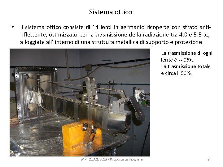 Sistema ottico • Il sistema ottico consiste di 14 lenti in germanio ricoperte con