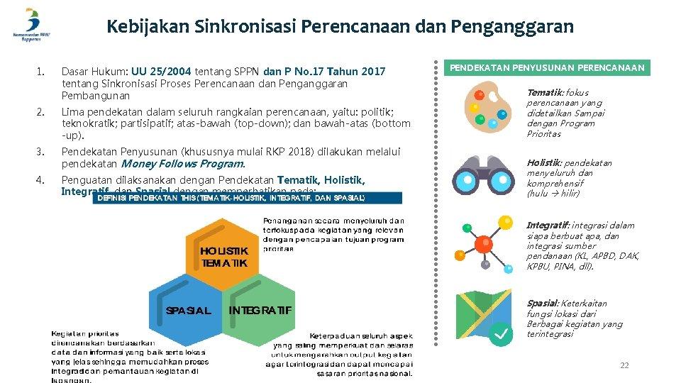 Kebijakan Sinkronisasi Perencanaan dan Penganggaran 1. Dasar Hukum: UU 25/2004 tentang SPPN dan P