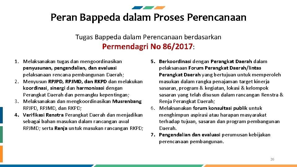 Peran Bappeda dalam Proses Perencanaan Tugas Bappeda dalam Perencanaan berdasarkan Permendagri No 86/2017: 1.