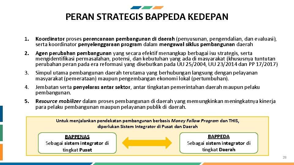 PERAN STRATEGIS BAPPEDA KEDEPAN 1. 2. 3. 4. 5. Koordinator proses perencanaan pembangunan di