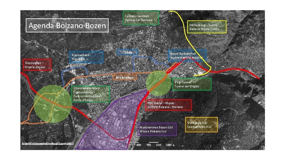 Agenda Bolzano Bozen Krankenhaus Ospedale Seilbahn Jenesien Funivia San Genesio Hörtenberg – Tunnel Galleria