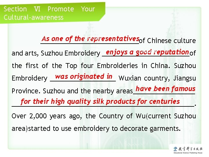 Section Ⅵ Promote Cultural-awareness Your me As one of the. Click representatives ______________of Chinese