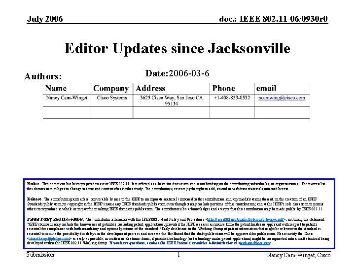July 2006 doc. : IEEE 802. 11 -06/0930 r 0 Editor Updates since Jacksonville