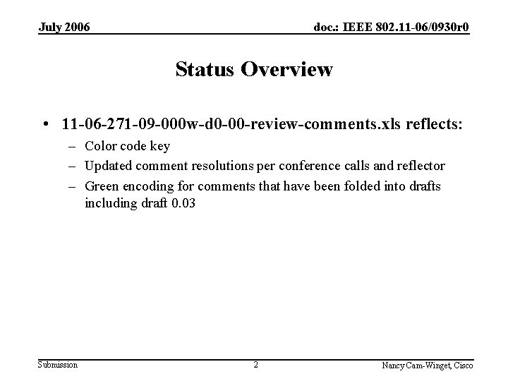 July 2006 doc. : IEEE 802. 11 -06/0930 r 0 Status Overview • 11