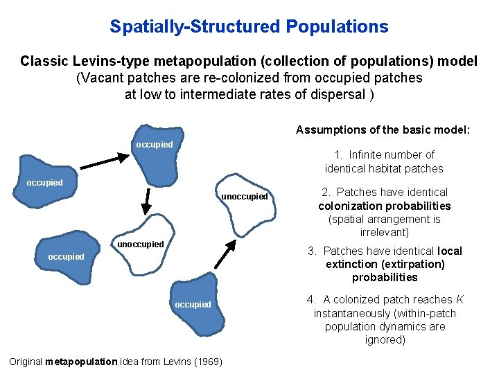 Spatially-Structured Populations Classic Levins-type metapopulation (collection of populations) model (Vacant patches are re-colonized from