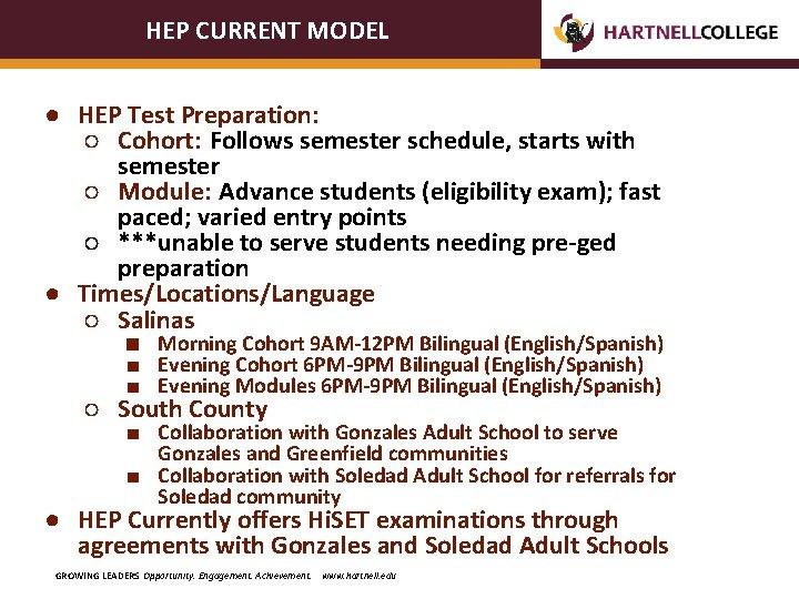 HEP CURRENT MODEL ● HEP Test Preparation: ○ Cohort: Follows semester schedule, starts with
