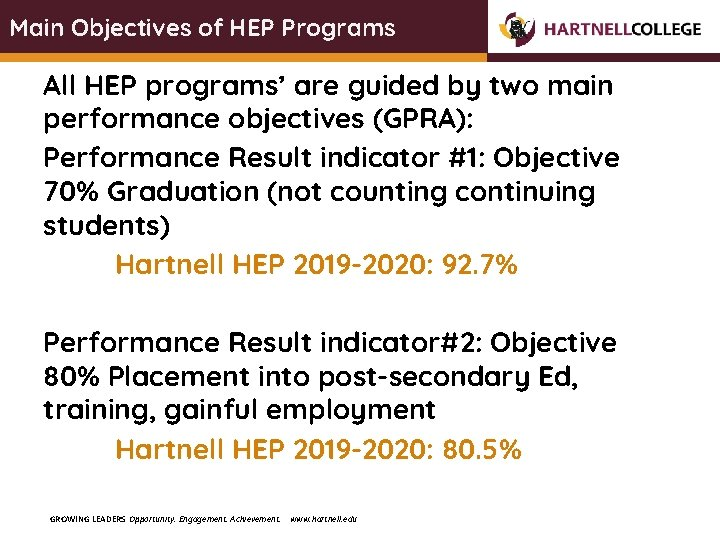 Main Objectives of HEP Programs All HEP programs' are guided by two main performance