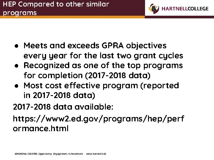 HEP Compared to other similar programs ● Meets and exceeds GPRA objectives every year
