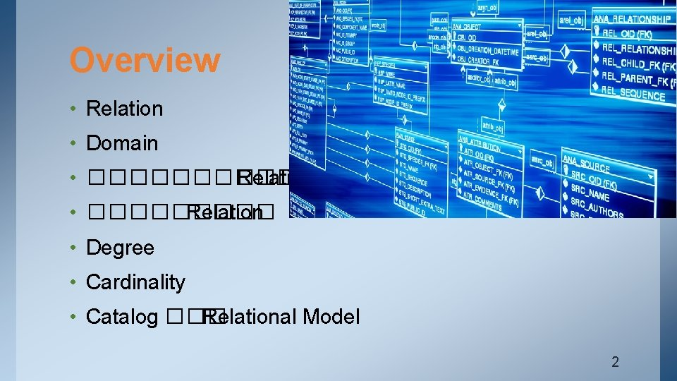 Overview • Relation • Domain • ������ Relation • Degree • Cardinality • Catalog