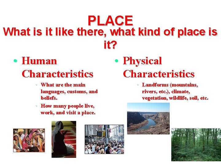 PLACE What is it like there, what kind of place is it? • Human