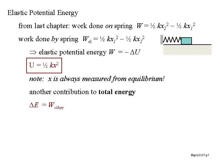 Elastic Potential Energy from last chapter: work done on spring W = ½ kx
