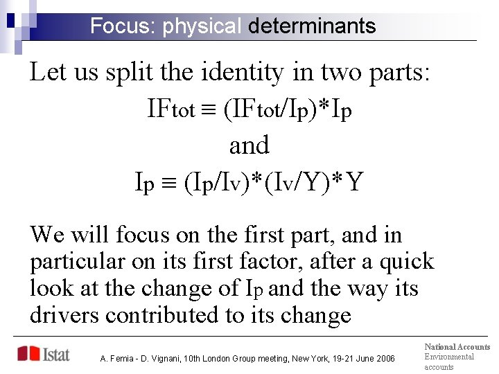 Focus: physical determinants Let us split the identity in two parts: IFtot (IFtot/Ip)*Ip and