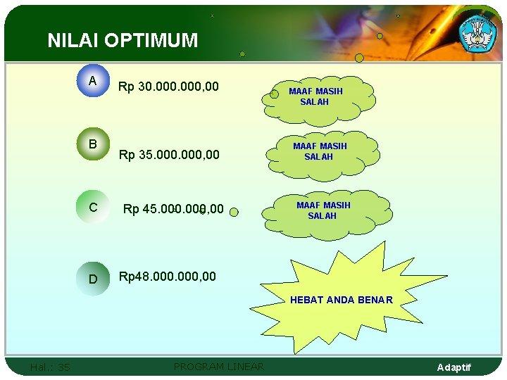 NILAI OPTIMUM A B C D Rp 30. 000, 00 Rp 35. 000, 00