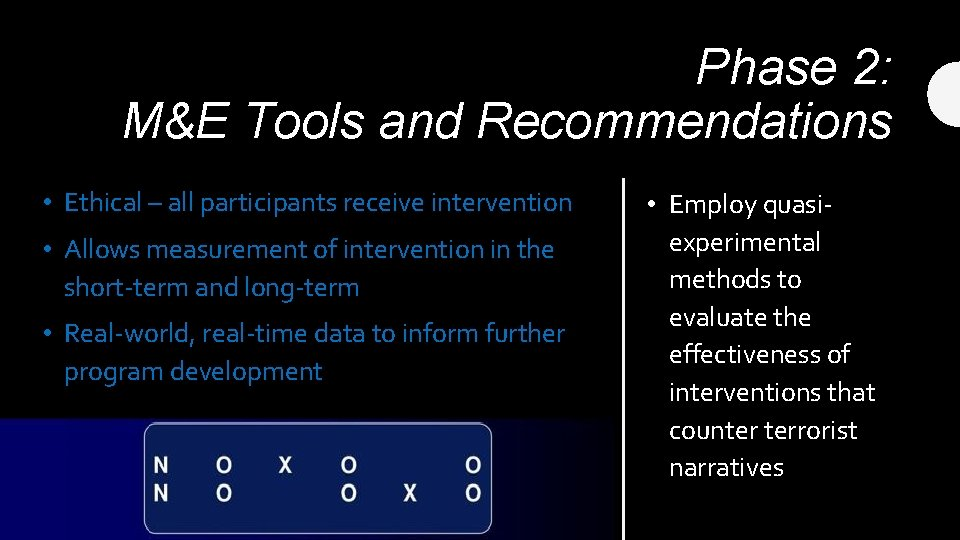 Phase 2: M&E Tools and Recommendations • Ethical – all participants receive intervention •