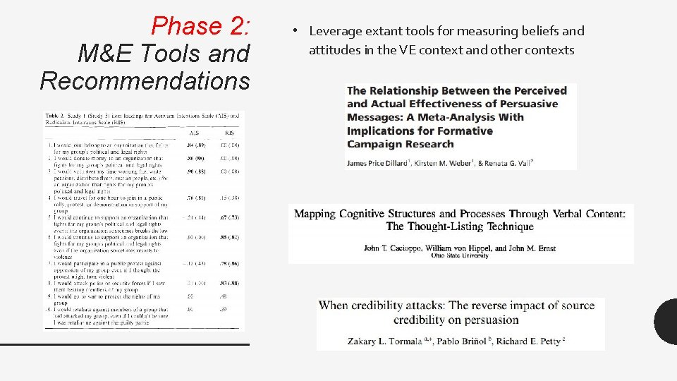Phase 2: M&E Tools and Recommendations • Leverage extant tools for measuring beliefs and