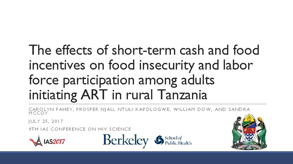 The effects of short-term cash and food incentives on food insecurity and labor force